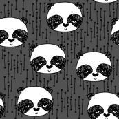 Panda Face - Charcoal/White/Blcak