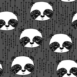 panda // charcoal panda design cute pandas illustration panda face hand-drawn panda design andrea lauren fabric