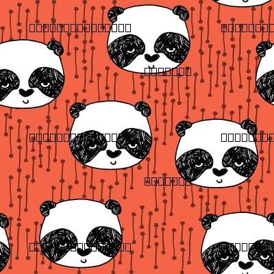 panda // corals panda coral fabric cute panda fabric hand-drawn illustration panda nursery baby