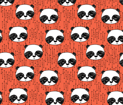 panda // corals panda coral fabric cute panda fabric hand-drawn illustration panda nursery baby  fabric by andrea_lauren on Spoonflower - custom fabric