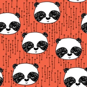 panda // corals panda coral fabric cute panda fabric hand-drawn illustration panda nursery baby