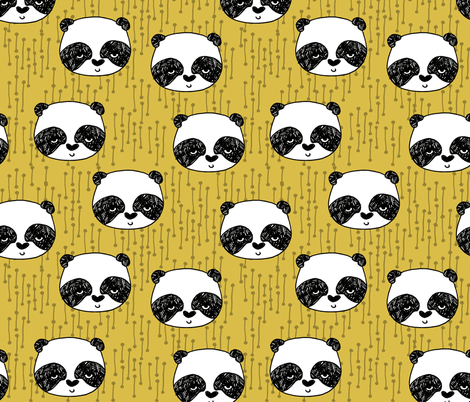 panda // mustard yellow pandas fabric cute illustrated panda bear fabric kawaii fabric andrea lauren fabric by andrea_lauren on Spoonflower - custom fabric