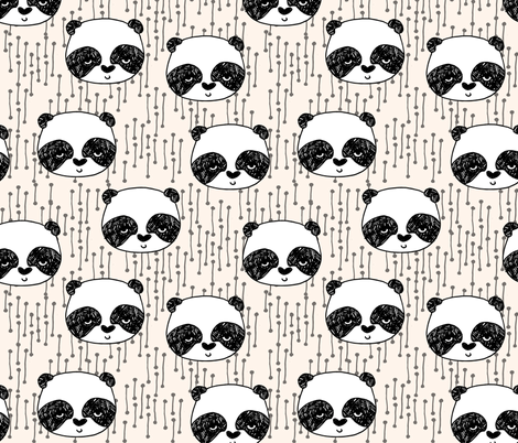 panda // champagne off-white background panda head cute  kawaii illustration scandi panda head by andrea lauren fabric by andrea_lauren on Spoonflower - custom fabric
