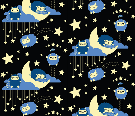 Sleepytime Sheep fabric by positivecynic on Spoonflower - custom fabric
