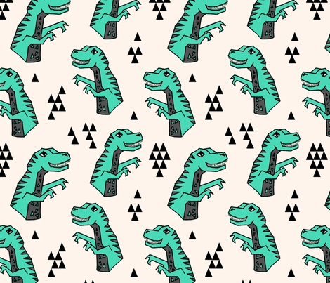 dinosaurs // green t-rex trex tyrannosaurus rex prehistoric kids boys  fabric by andrea_lauren on Spoonflower - custom fabric