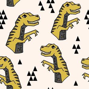 dinosaur fabric  // dinos dino prehistoric jurassic yellow dinosaur trex tyrannosaurus rex t-rex