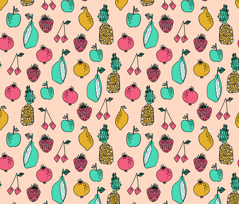 Tutti Fruits - Brights - Blush/French Rose/Light Jade/Mustard by Andrea Lauren fabric by andrea_lauren on Spoonflower - custom fabric
