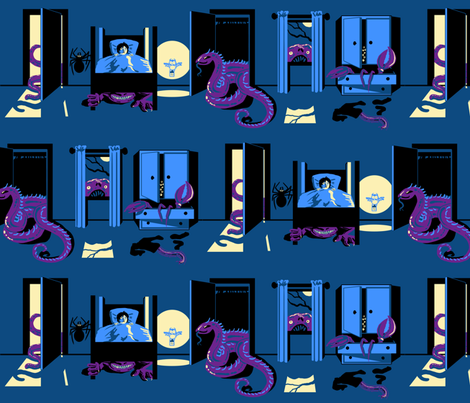 Bed Time with Monsters fabric by ninniku on Spoonflower - custom fabric
