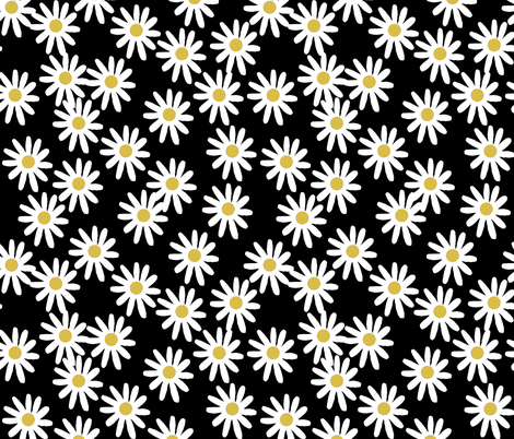 daisy // daisies flowers florals flower black and white simple 90s design fabric by andrea_lauren on Spoonflower - custom fabric