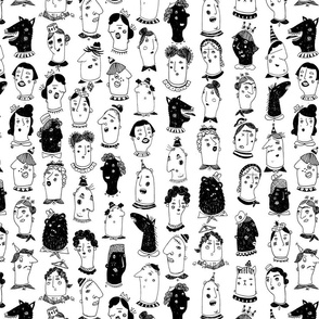 People Pattern - Black / White