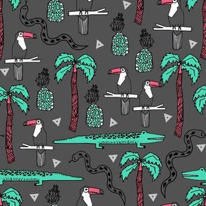 tropical // tropical palms palm tree alligator crocodile toucans snakes kids