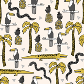 tropical // summer pineapple alligator crocodile kids palms palm tree mustard grey
