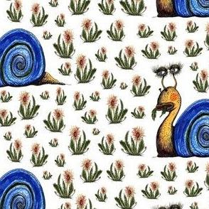 Pretty Snail Having a snack blue white