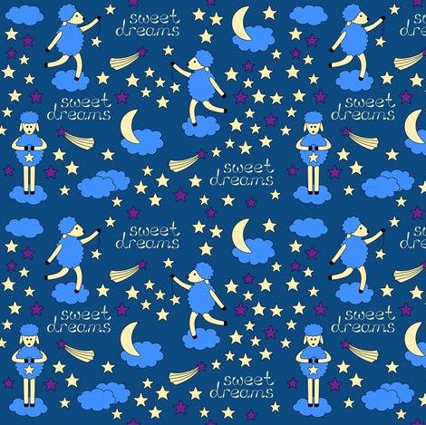 Sweet Dreams bedtime pattern fabric by alenkas on Spoonflower - custom fabric