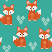 Watercolor Foxes Aqua