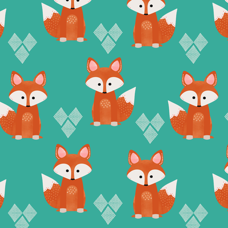 Watercolor Foxes Aqua fabric by natitys on Spoonflower - custom fabric