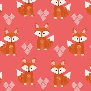 Watercolor Foxes Pink