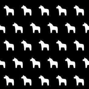 Dala Horse white on black, large