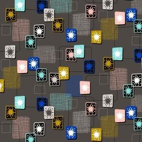 Lady Luck || midcentury modern texture barkcloth bark cloth vintage Las Vegas atomic geometric stars starburst upholstery