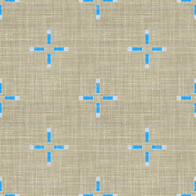 Linen Geometric Cross in taupe and blue