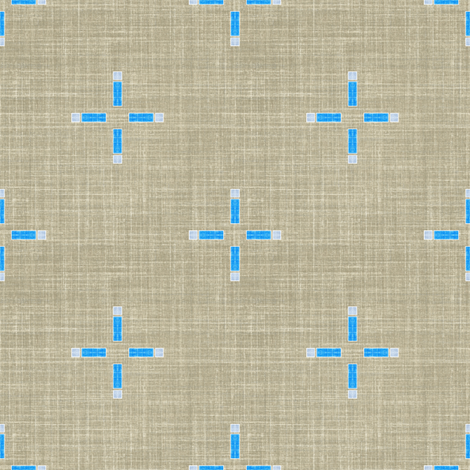 Linen Geometric Cross in taupe and blue fabric by joanmclemore on Spoonflower - custom fabric