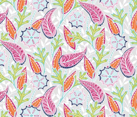 Oak Paisley -  pink fabric by jillbyers on Spoonflower - custom fabric