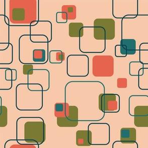 Mid-Century Modern - Retro Squares (Shrimp)