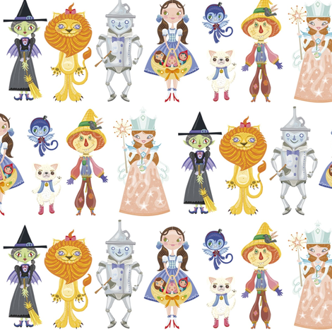 BCon 2014 Medium Characters White fabric by tinyhaus on Spoonflower - custom fabric