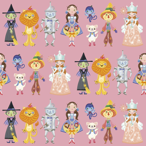 BCon 2014 Medium Characters Pink fabric by tinyhaus on Spoonflower - custom fabric