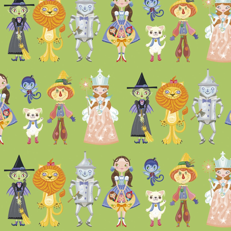 BCon 2014 Medium Characters Green fabric by tinyhaus on Spoonflower - custom fabric