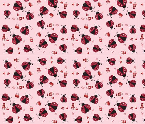 Lovebugs_Pink fabric by ehokayartcards on Spoonflower - custom fabric