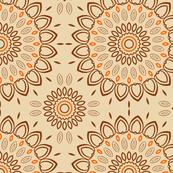 Orange, Peach & Brown Ornamental Pattern Design