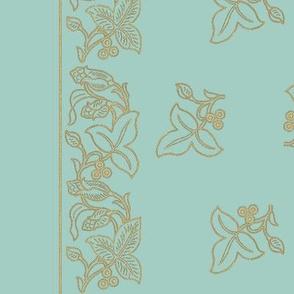Med Naturalistic-flower-border-dress-fabric-IMAGESIZE2X-150-6IN-40IN-LENGTH-GOLDlns-sage-ALLFLWRS