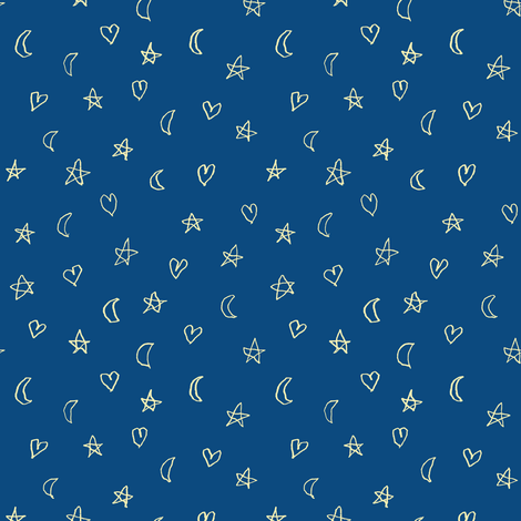 Hearts moons and stars in cream fabric weavingmajor for Fabric with moons and stars