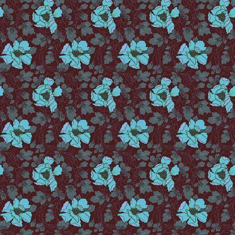 Floral Fling ~ New England Night ~ Medium fabric by peacoquettedesigns on Spoonflower - custom fabric