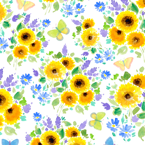 Fiori Di Campo ~ Sunflowers | alexcolombo.com fabric by studioalex on Spoonflower - custom fabric