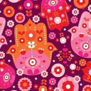 Hot pink oriental Hamsa arabic summer print