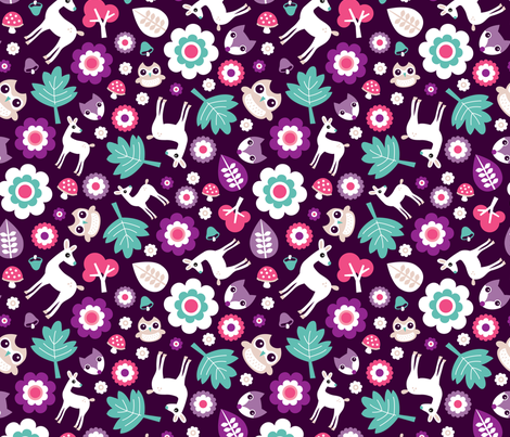 Woodland deer and owls for girls summer fabric by littlesmilemakers on Spoonflower - custom fabric