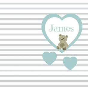 Blue Heart Gray Stripes- Personalized-ed