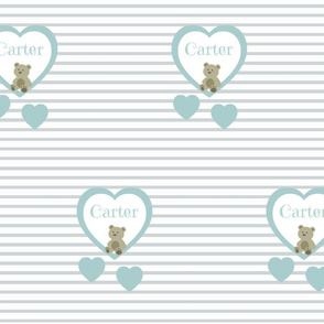 Blue Heart Gray Stripes- Personalized-Carter