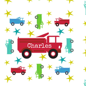 Fire Truck star RED - Personalized  CHARLES
