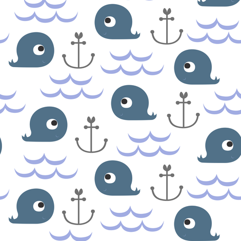 Whale Watching Blue fabric by natitys on Spoonflower - custom fabric