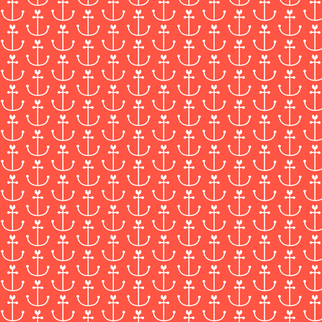 Anchors Coral fabric by natitys on Spoonflower - custom fabric