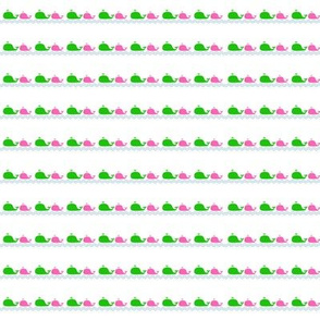 Small Whale Love in Pink and Green