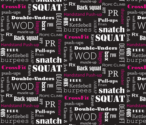Pink On Black Crossfit Subway Art Fabric By Noochesfabric Spoonflower