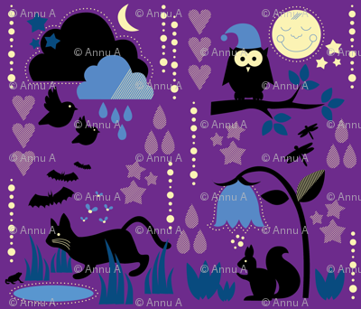 Night Animals In the Dusk / Cute Children Nightwear Fabric Purple