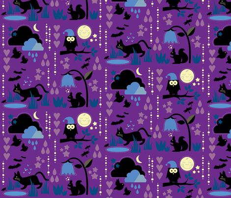 Night Animals In the Dusk / Cute Children Nightwear Fabric Purple fabric by minikuosi on Spoonflower - custom fabric