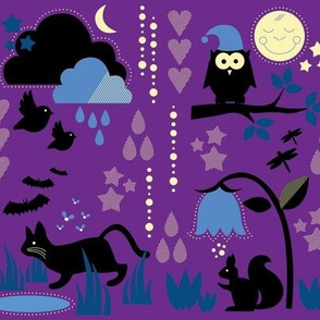 Night Animals In the Dusk / Cute Children Nightwear Fabric Purple