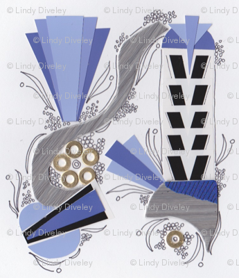 Art Deco violet collage