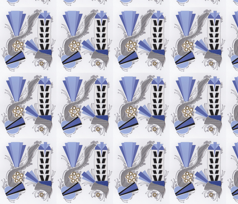 Art Deco violet collage fabric by lindyd on Spoonflower - custom fabric
